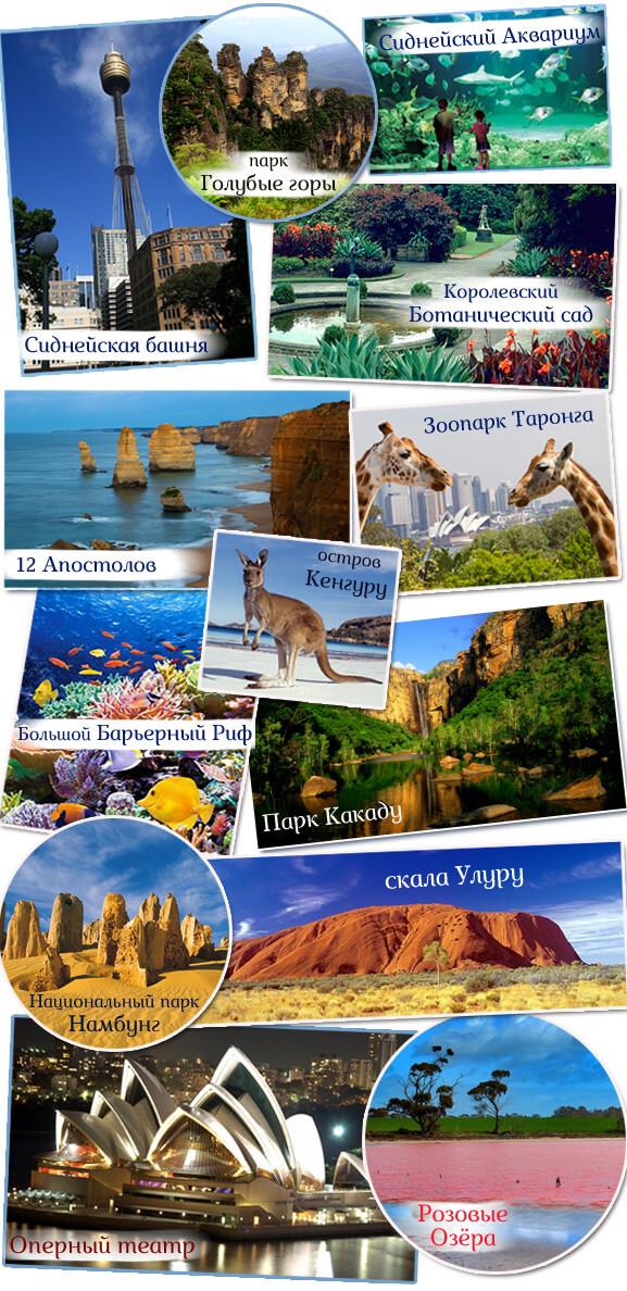 Самый маленький в мире континент - Австралия. Достопримечательности.