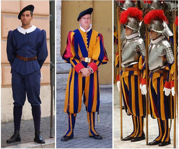 Самая маленькая в мире Армия - армия Ватикана. Повседневная и парадные униформы Швейцарских гвардейцев.