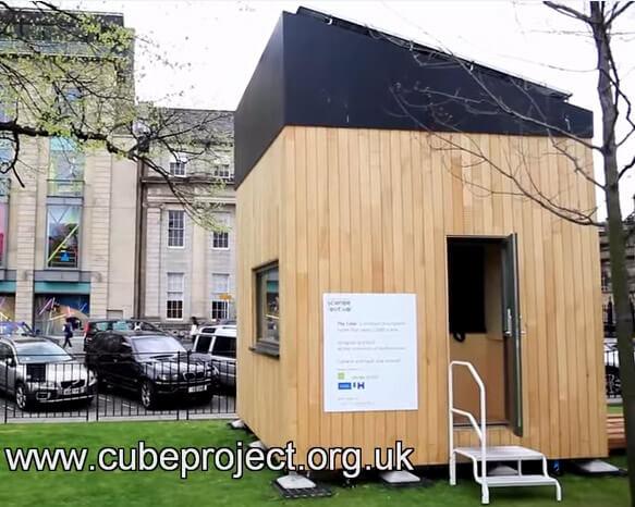 Самые маленькие в мире дома. Миниатюрный эко-куб площадью в 12 кв.м, Великобритания, университет Хартфордшир.