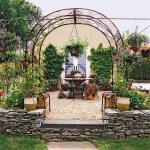 Дизайн маленького сада. Оформление внутреннего дворика. Зона отдыха в саду.