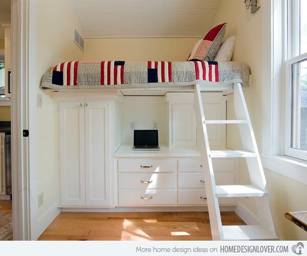 Спальное место на втором ярусе. Маленькая спальня. Интерьер и дизайн маленькой спальни. Идеи и декор.