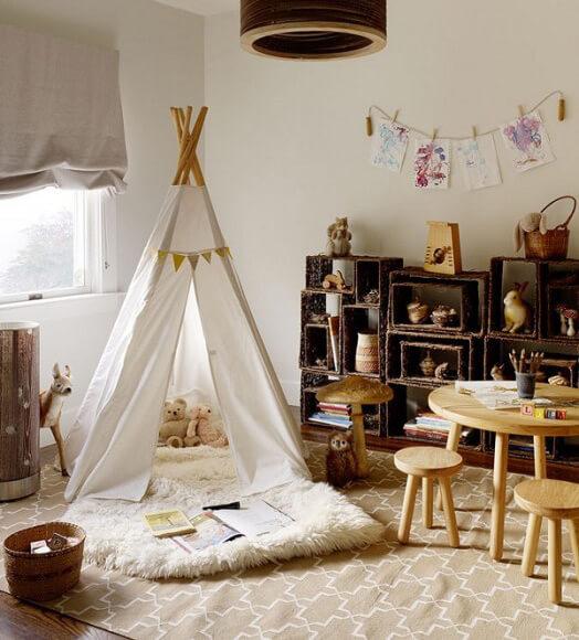 Маленькая детская комната. Идеи дизайна. Детская палатка - вигвам
