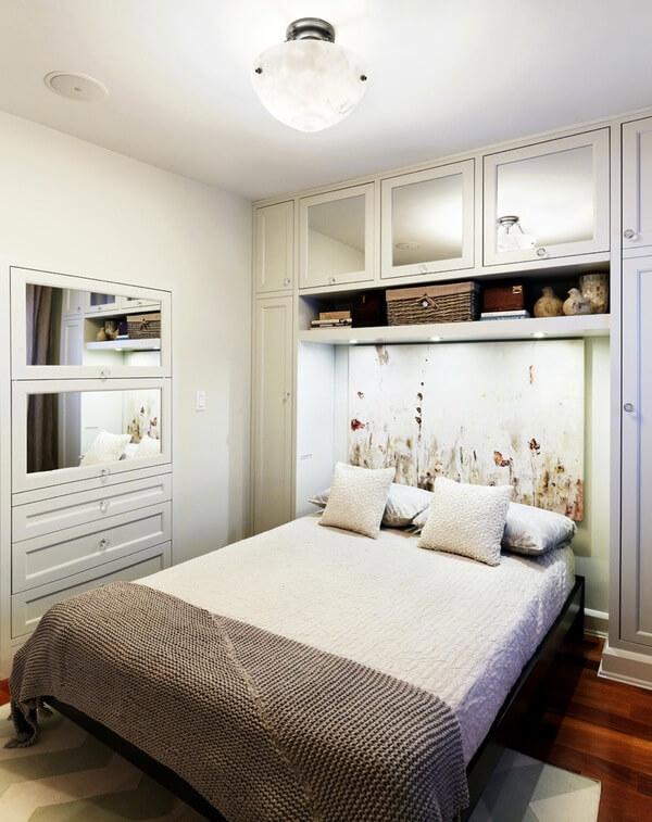 Встроенные шкафы. Маленькая спальня. Интерьер и дизайн маленькой спальни. Идеи и декор.