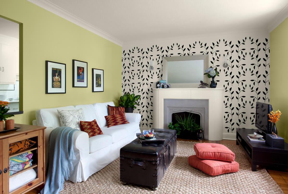 Маленькая гостиная. Идеи дизайна и интерьера. Акцент на одной стене.