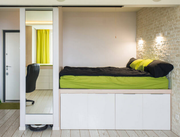 Подиум для кровати. Маленькая спальня. Интерьер и дизайн маленькой спальни. Идеи и декор.
