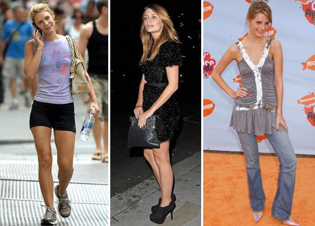 Знаменитости с короткими ногами. Клэр Дэйнс в спортивных шортах и актриса Миша Бартон (успешно скрывает короткие ноги благодаря платью с завышенной талией и длинной тунике с джинсами.