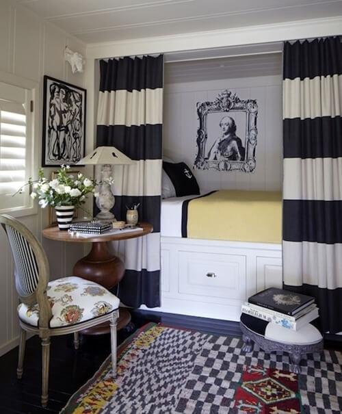 Текстиль в маленькой спальне. Кровать в нише. Маленькая спальня. Интерьер и дизайн маленькой спальни. Идеи и декор.