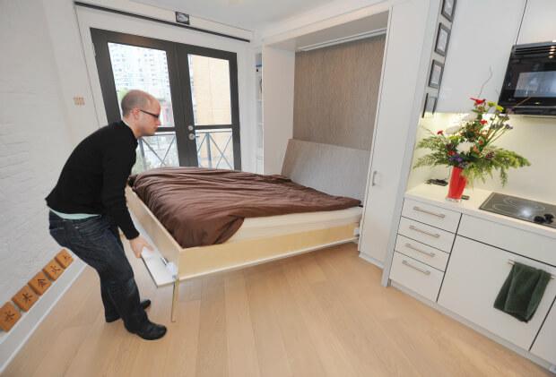 Дизайн, интерьер и отделка маленьких и самых маленьких квартир. Складная мебель.