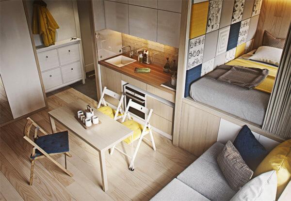 Дизайн, интерьер и отделка маленьких и самых маленьких квартир. Квартира 20м.