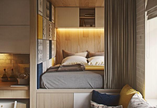 Спальное место на подиуме. Дизайн, интерьер и отделка маленьких и самых маленьких квартир.