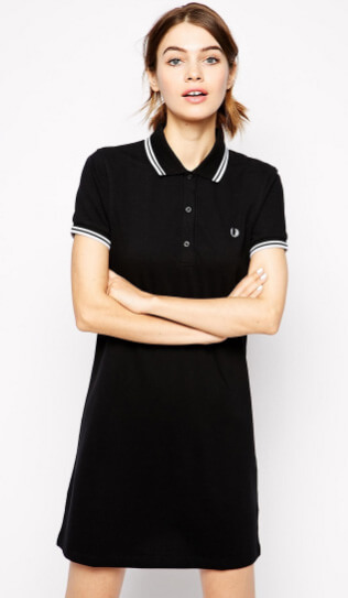 короткое платье поло.Fred perry Polo Shirt Dress in Black