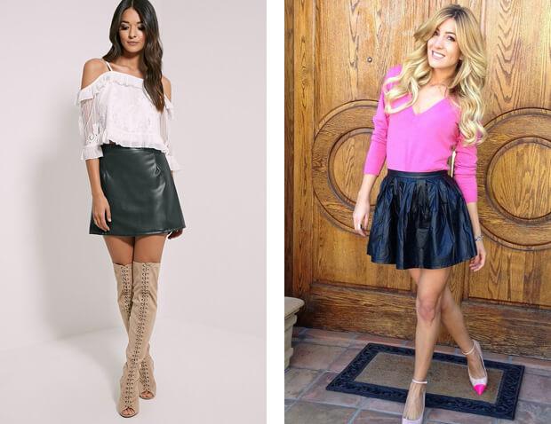 Короткие юбки. История возникновения и современные модные мини-юбки. Черная мини-юбка и белый верх. Короткая юбка с сапогами.