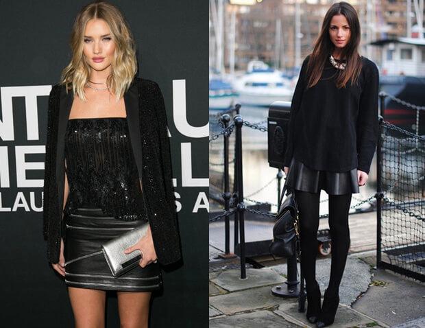 Черная короткая кожаная юбка.
