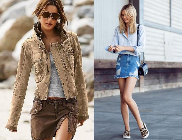 Мини-юбка карго и джинсовая мини юбка. Короткие юбки. История возникновения и современные модные мини-юбки. С чем носить короткую юбку. Обувь для короткой юбки.