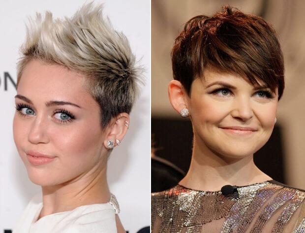 Короткие и очень короткие женские стрижки. Короткие стрижки для круглой формы лица. Знаменитости с короткими стрижками. Майли Сайрус и Джиннифер Гудвин.