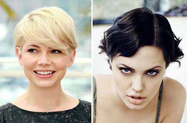 Короткие и очень короткие женские стрижки. Короткие стрижки для овальной формы лица. Знаменитости с короткими стрижками. Мишель Уильямс и Анджелина Джоли.