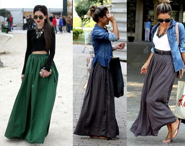 Модные длинные юбки. Кому подходят и с чем носить. Зеленая и серая Юбки макси