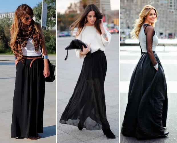 Чёрная джинсовая юбка макси