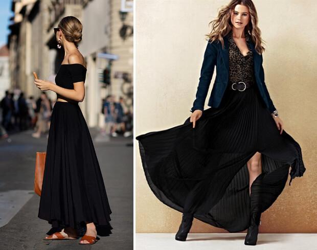 Черные юбки макси. Пышная длинная юбка, шифоновая плиссерованная юбка. с чем носить.
