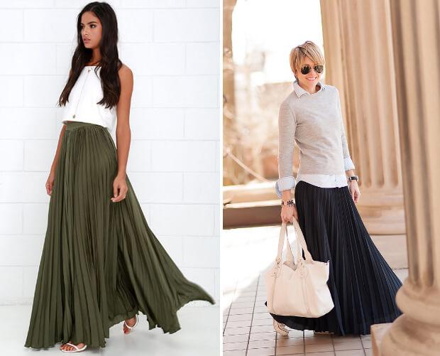 Длинная плиссированная юбка. с чем носить.
