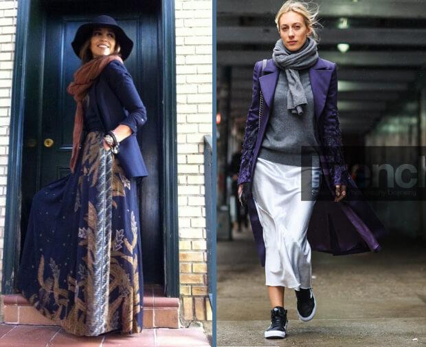 Зимние длинные юбки. с чем носить.
