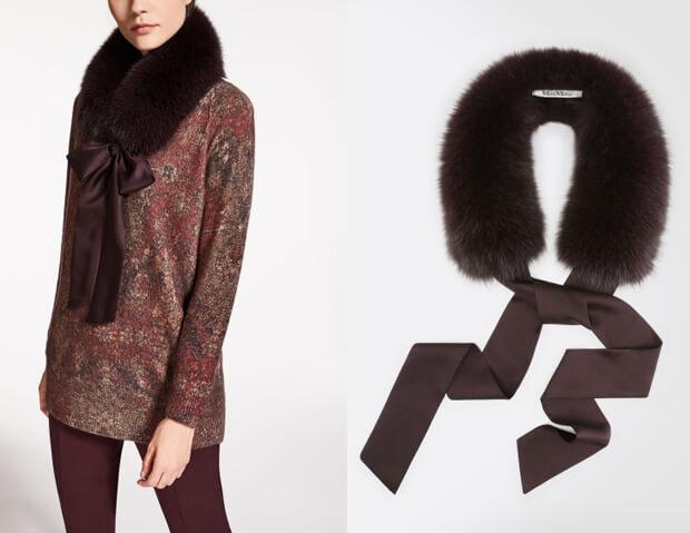 Модные шарфы осень-зима 2016 2017. Меховой шарф от Max Mara.