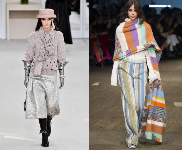 Модные шарфы осень-зима 2016 2017. Модель в шляпе - Шанель.