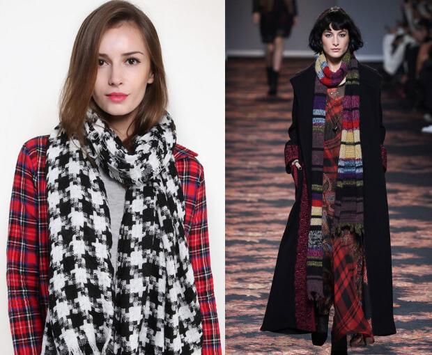 Модные шарфы осень-зима 2016 2017. Длинный широкий шарф в клетку и полоску.