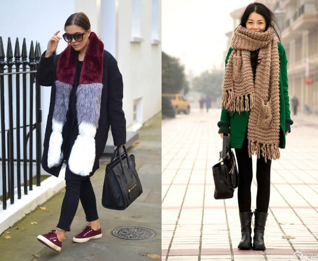 Модные шарфы осень-зима 2016 2017. Длинный широкий шарф мега длины.