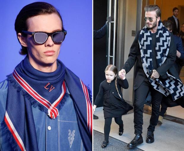 Мужские шарфы мода осень зима 2016 -2017. Шарфы Луи Виттон. Дэвид Бэкхем с дочкой справа.