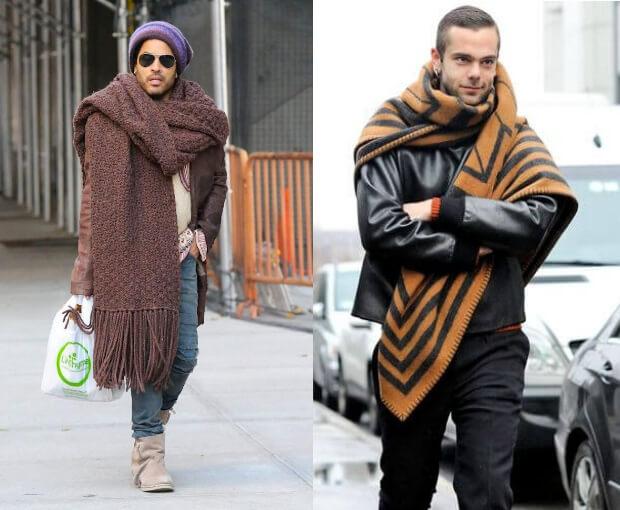Мужские шарфы мода осень зима 2016 -2017. Ленни Кравитс в шапке и модном большом шарфе.