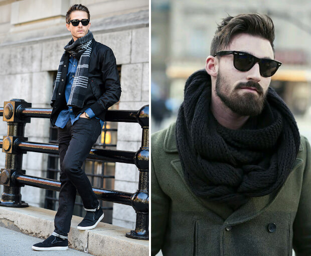 Мужские шарфы мода осень зима 2016 -2017. Справа - вязаный большой шарф оверсайз.
