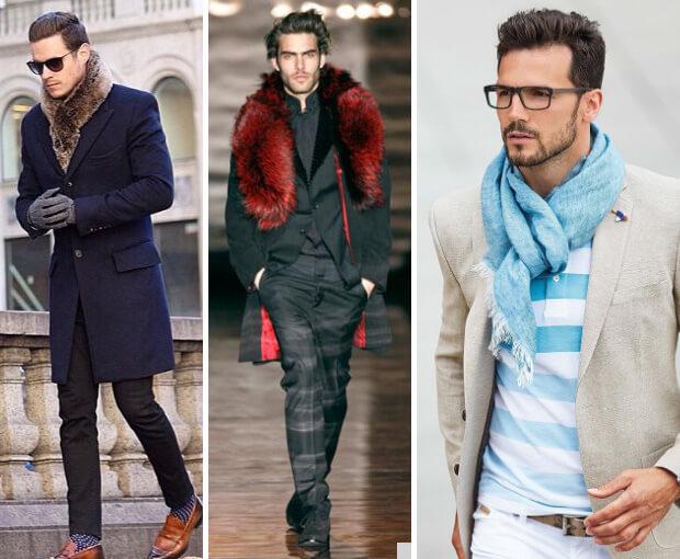 Мужские шарфы мода осень зима 2016 -2017. Меховые шарфы и голубой  легкий шарф.
