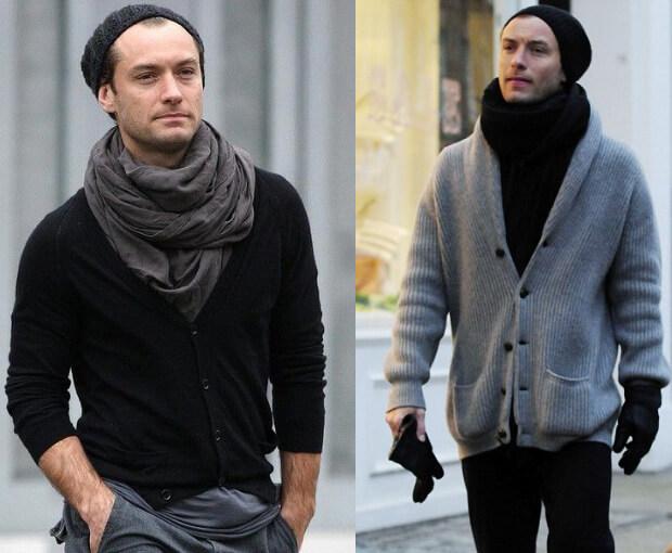 Мужские шарфы мода осень зима 2016 -2017. Джуд Лоу в шарфе.