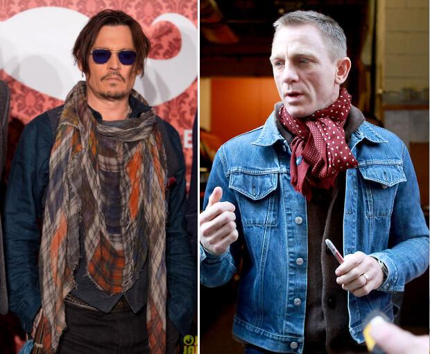 Мужские шарфы мода осень зима 2016 -2017. Джонни Депп и Дэниэл Крейг.