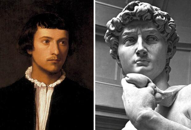 Самые красивые в мире люди. Портрет молодого человека кисти Тициана и статуя Давида - работа Микеланджело.