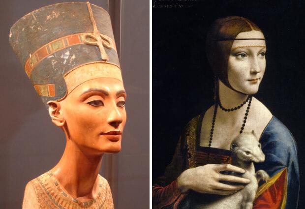 Самые красивые в мире люди. Нефертити и Дама с Горностаем (худ. Леонардо да Винчи).