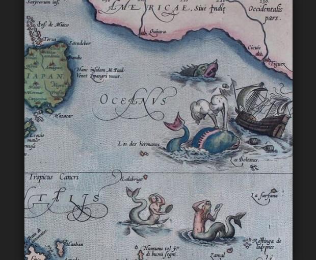 Фрагмент старинной карты Тихого океана