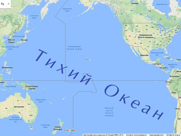 тихий океан на карте фото