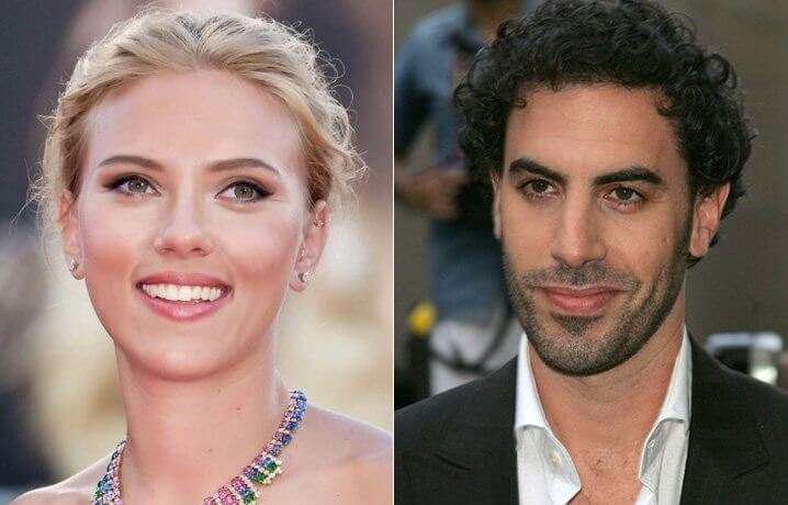 Scarlett Johansson and Sasha Baron Cohen. Famous Jews. Actors and other celebrities.