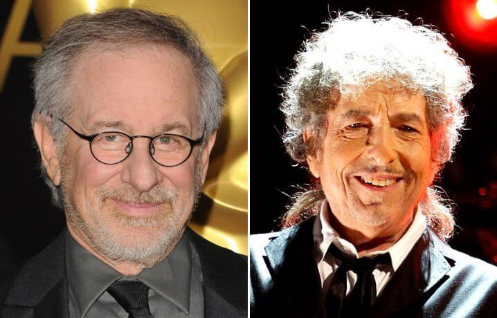 Steven Allan Spielberg and Bob Dylan. Famous Jews. Actors and other celebrities.