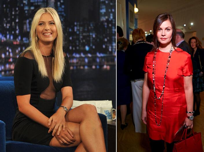 Мария Шарапова - 188 см и Екатерина Андреева - 176 см. высокие знаменитости