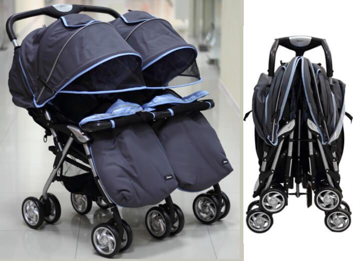 Jetem Коляска для двойни Elegant Twin. Лучшие коляски для двойни.