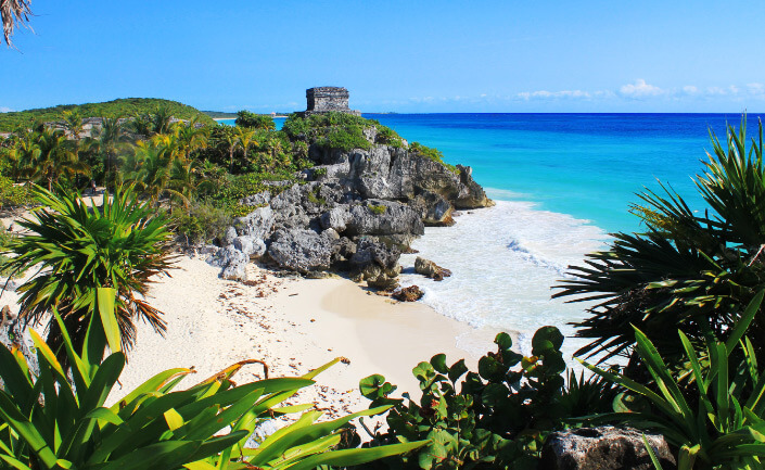 Playa Paraiso or Tulum beach, Mexico. The Best beautiful Beach in the world 2017
