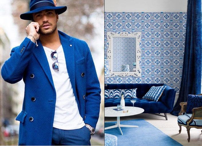 Синий цвет одежда и интерьер