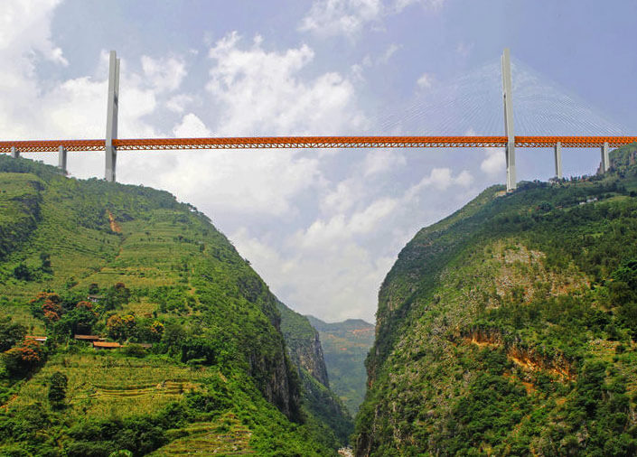 Duge Bridge – самый высокий кабельный мост на планете.