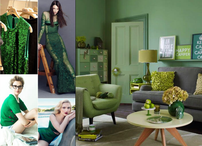 Green color clothes and interior