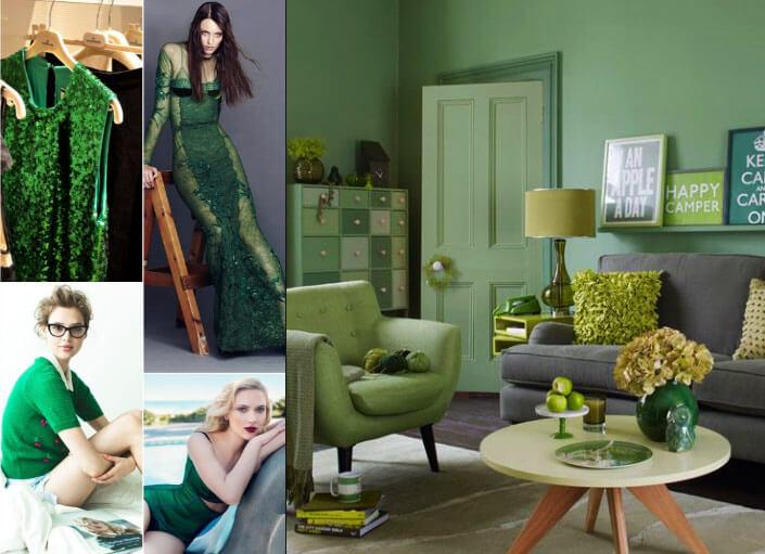 зеленый цвет одежда и интерьер
