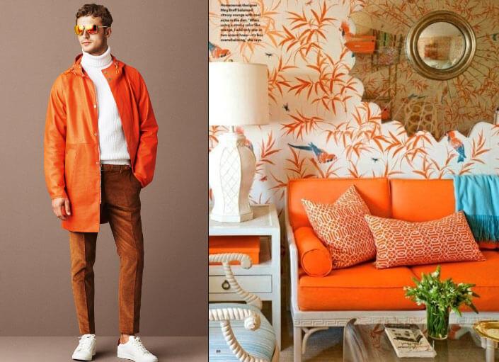 оранжевый цвет одежда и интерьер