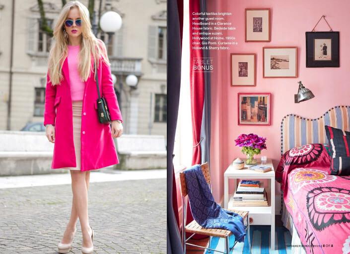 Розовый цвет интерьер и одежда